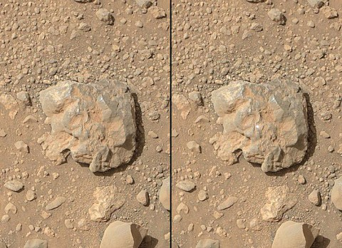 NASA's Curiosity Mars rover used the Mars Hand Lens Imager (MAHLI) camera on its arm to catch the first images of sparks produced by the rover's laser being shot at a rock on Mars. (NASA/JPL-Caltech/MSSS)