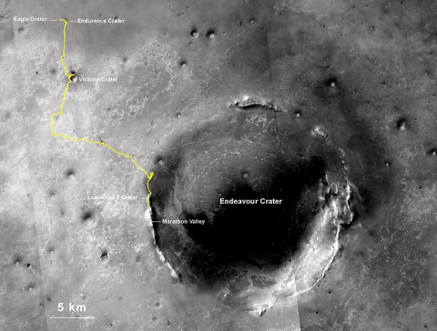NASA's Mars Exploration Rover Opportunity, working on Mars since January 2004, passed 25 miles of total driving on July 27, 2014. The gold line on this map shows Opportunity's route from the landing site inside Eagle Crater (upper left) to its location after the July 27 (Sol 3735) drive. (NASA/JPL-Caltech/MSSS/NMMNHS)