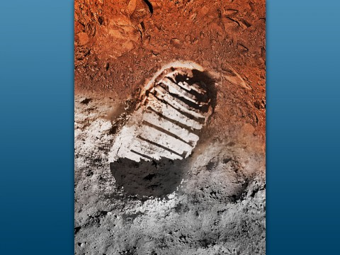 Artist's concept image of a boot print on the moon and on Mars. (NASA)