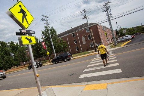 New crosswalk sign in front of APSU Foy Center. (Photo by Linnea Rainey - Austin Peay State University)