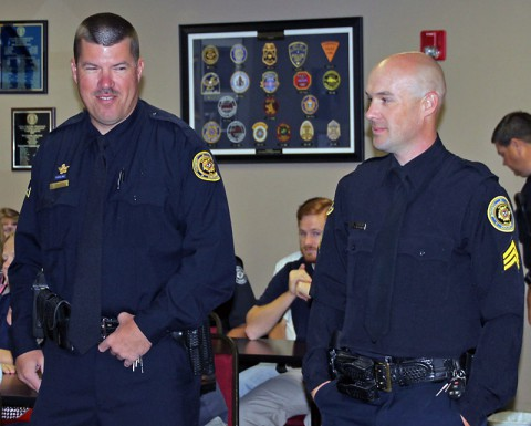 (L to R) Clarksville Police Sergeant David Keenom and Sergeant Benjamin Blackmon.