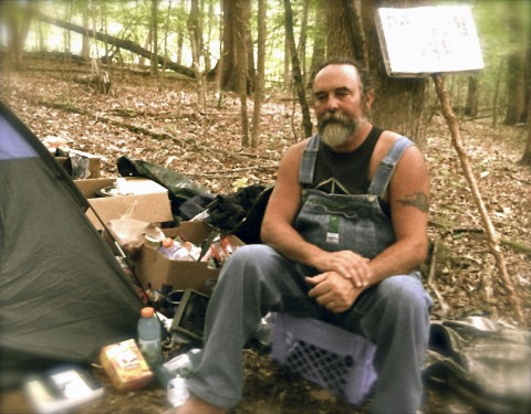 Kenny York at his camp site. (Frank White)