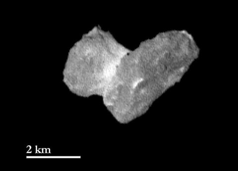 The nucleus of comet 67P/Churyumov-Gerasimernko as seen by Rosetta's OSIRIS instrument from a distance of 1,210 miles (1,950 kilometers) on July 29, 2014. (ESA/Rosetta/MPS for OSIRIS Team MPS/UPD/LAM/IAA/SSO/INTA/UPM/DASP/IDA)