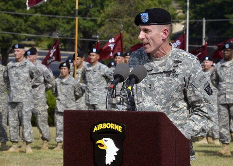 "Major General Gary J. Volesky, the commanding general of the 101st Airborne Division (Air Assault) and Fort Campbell, officially welcomes Col. Frank W. Tate, the new deputy commanding general for support for the 101st, during an Honor Eagle ceremony held Aug. 8, 2014, in front of the division headquarters building. Volesky knows Tate will do well as the new DCG-S. ""I am confident he's going to continue in the great tradition of excellence that all the DCG-S's of the 101st have made."" (U.S. Army Photo by Sam Shore)"