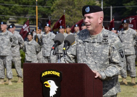 Colonel Frank W. Tate, the new deputy commanding general for support for the 101st Airborne Division (Air Assault) and Fort Campbell, addresses the audience during a ceremony officially welcoming him to the 101st. Tate and his wife, Beverly, felt they were welcomed with open arms by the Screaming Eagle team and Fort Campbell community, he said. (U.S. Army Photo by Sam Shore)