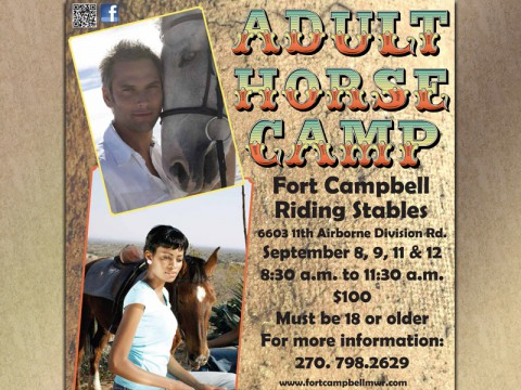 Adult Horse Camp to be held by the Fort Campbell Riding Stables