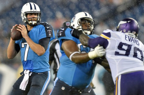 Tennessee Titans quarterback Zach Mettenberger (7) prepares to throw the ball against the Minnesota Vikings during the first half at LP Field. (Don McPeak-USA TODAY Sports)
