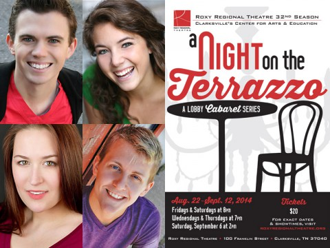 """""""A Night on the Terrazzo"""" performers Ryan Bowie, Corinne Bupp, Allie McCaw and Chase Miller."""