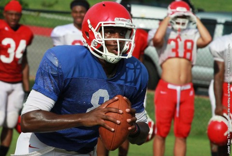 Austin Peay Junior Trey Taylor nailed down the starting quarterback spot in Friday's scrimmage. (APSU Sports Information)