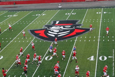 Austin Peay State University's football team practicing in the New Governors Stadium. (APSU Sports Information)