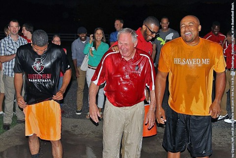 Austin Peay State University head men's basketball coach Dave Loos, center, and assistants Corey Gipson, left, and Bubba Wells took part in the ALS Ice Bucket Challenge, Saturday night, at the Basketball Bash. (APSU Sports Information)