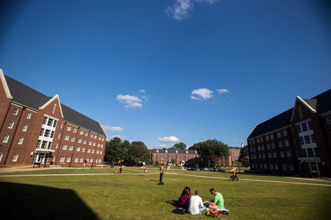 Students hang out on the quad between residence halls Eriksson, and Governors Terrace North and South at Austin Peay State University.