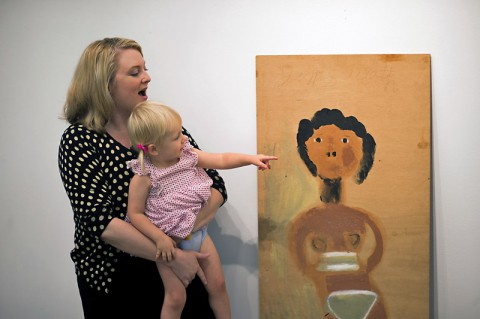 "Karen Parr-Moody and her daughter, Stella, donate Jimmy Lee Sudduth's ""Bikini Girl"" to Austin Peay State University. (Taylor Slifko/APSU)"