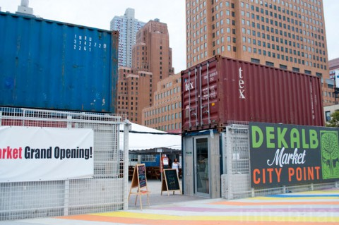 Dekalb Market's Shipping Container Entrance (Leonel Lima Ponce/Inhabitat)