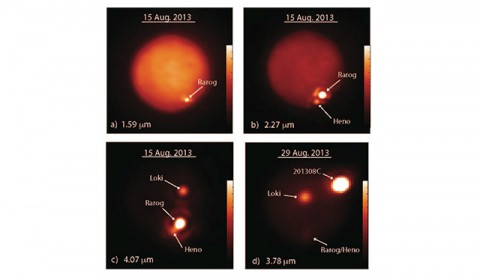 These images show Jupiter's moon Io obtained at different infrared wavelengths (in microns, μm, or millionths of a meter) with the W. M. Keck Observatory's 10-meter Keck II telescope on Aug. 15, 2013 (a-c), and the Gemini North telescope on Aug. 29, 2013 (d). (Imke de Pater and Katherine de Kleer/UC Berkeley/Gemini/Keck)