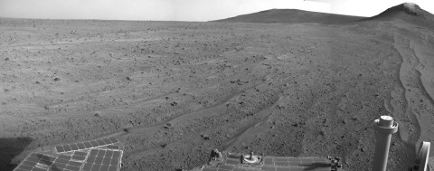 NASA's Mars rover Opportunity captured this view southward just after completing a 338-foot (103-meter) southward drive, in reverse, on Aug. 10, 2014. (NASA/JPL-Caltech)