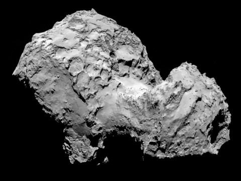 Comet 67P/Churyumov-Gerasimenko by Rosetta's OSIRIS narrow-angle camera on August 3, 2014, from a distance of 177 miles (285 kilometers). (ESA/Rosetta/MPS for OSIRIS Team MPS/UPD/LAM/IAA/SSO/INTA/UPM/DASP/IDA)