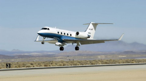NASA's C-20A Earth science research aircraft with the UAVSAR slung underneath its belly lifts off the runway at Edwards Air Force Base on a prior radar survey mission. (NASA Armstrong)