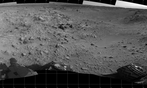 "This full-circle panorama of the landscape surrounding NASA's Curiosity Mars rover on July 31, 2014, offers a view into sandy lower terrain called ""Hidden Valley,"" which is on the planned route ahead. It combines several images from Curiosity's Navigation Camera. South is at the center. (NASA/JPL-Caltech)"