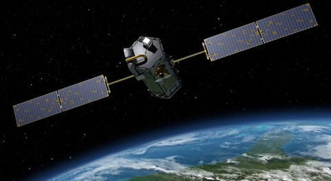 Artist's rendering of NASA's Orbiting Carbon Observatory (OCO)-2, one of five new NASA Earth science missions set to launch in 2014, and one of three managed by JPL. (NASA/JPL-Caltech)