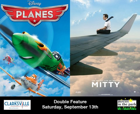 Planes and The Secret Life of Walter Mitty to be featured this Saturday, September 13th at Clarksville's Movies in the Park.