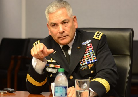 Army Vice Chief of Staff Gen. John F. Campbell makes a point during his farewell media roundtable at the Pentagon, Aug. 1, 2014. (David Vergun/U.S. Army)