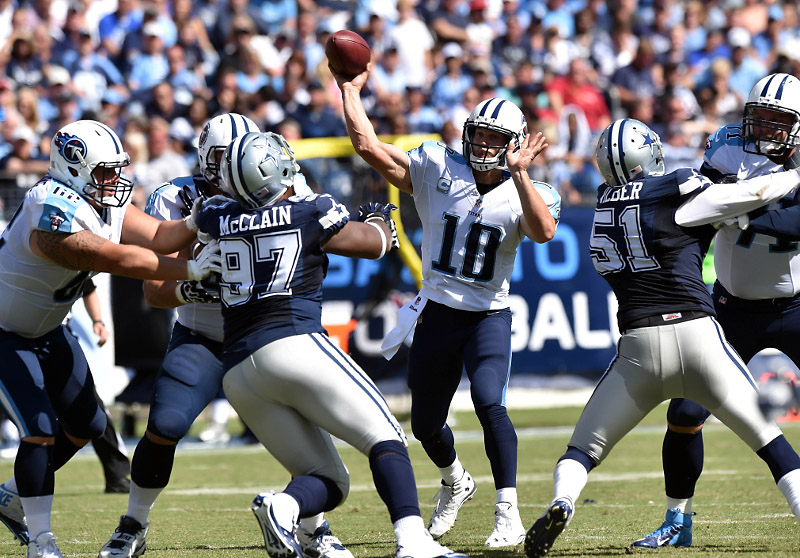 Tennessee Titans quarterback Jake Locker (10) throws against the Dallas Cowboys during the second half at LP Field. The Cowboys beat the Titans 26-10. (Don McPeak-USA TODAY Sports)