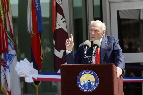 Honorary Chairman of the Intrepid Fallen Heroes Fund, Arnold Fisher, speaks at the dedication of the new Intrepid Spirit Center, on Monday, Sept. 8, 2014 at Fort Campbell, KY. (Dean Dixon/AP Images for AP Images for Intrepid Fallen Heroes)