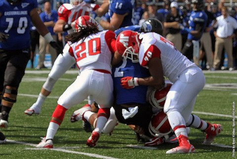 Austin Peay Football's Buddy Mitchell and Jule Pace combine for a tackle against Eastern Illinois. (APSU Sports Information)