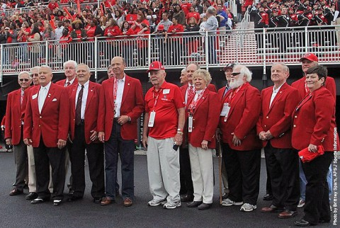 Hendricks Fox, center, was inducted into the Red Coat Society, Saturday afternoon, during the APSU-Chattanooga football game. (APSU Sports Information)