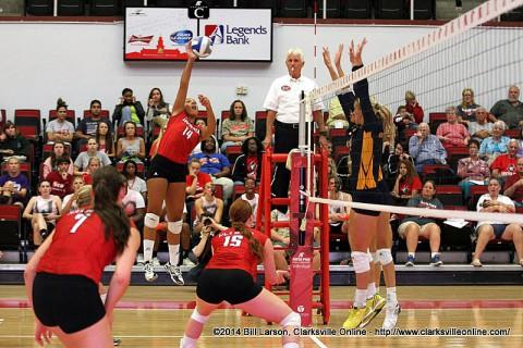 Austin Peay's Jada Stotts had 12 kills in Women's Volleyball loss to Memphis.
