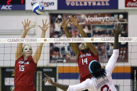 Austin Peay's Hillary Plybon (left) recorded six blocks in the Lady Govs victory at Evansville, Tuesday. (APSU Sports Information)