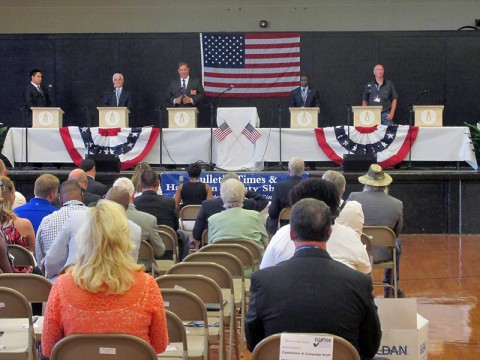 This picture is from a July debate in Bolivar, Tennessee, hosted by the Bolivar Bulletin-Times. All primary candidates for the 7th district race attended, save for Blackburn, who sent a surrogate.