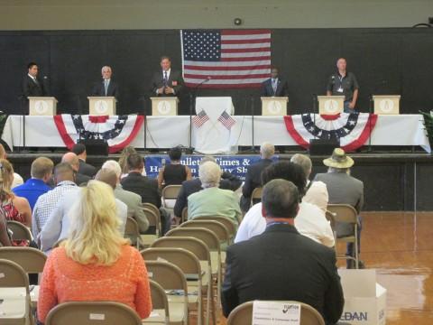 Dan Cramer speaking at a July debate in Bolivar, Tennessee; Marsha Blackburn's office sent a staffer to debate in her place.