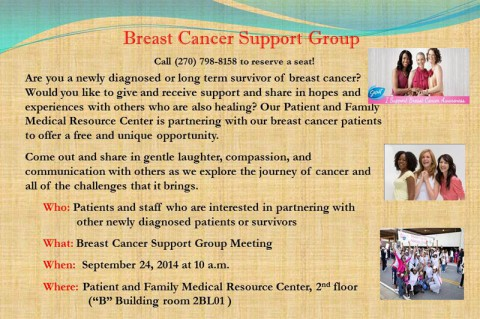 Breast Cancer Support Group meeting September 24th