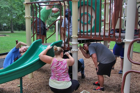 Volunteers spruce up Burchett Park.