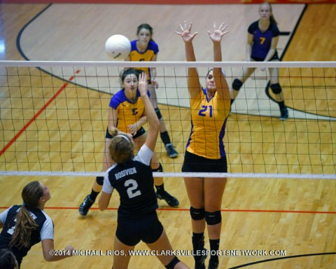Clarksville High Girls Volleyball get 3-1 win over Rossview High.