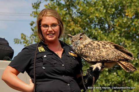 "Nashville Zoo's Anna Currie talks to the audience about ""Archimedes"" the Eagle Owl at Clarksville's Riverfest."