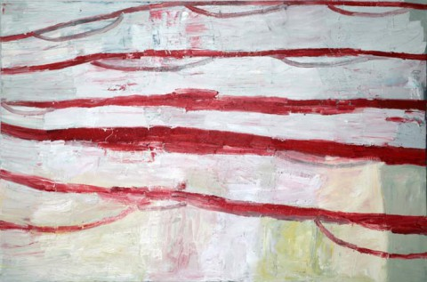 Flag Veil River a work by by Margaret Evangeline on permanent  display at the Customs House Museum