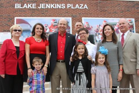 The Jenkins family at the dedication of the Blake Jenkins Plaza