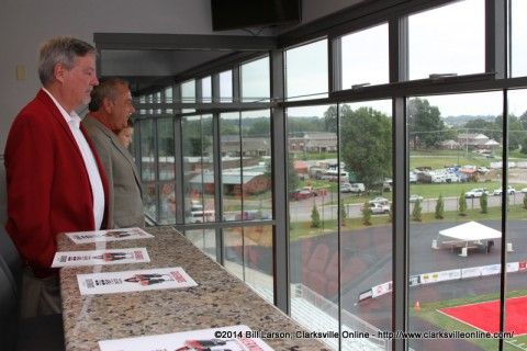Checking out the view from the John and Trish Foy Presidential Suite Skybox
