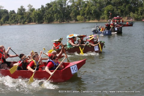 Boats competing in the 2014 Riverfest Regatta