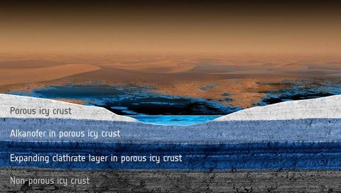Hundreds of lakes and seas are spread across the surface of Saturn's moon Titan -- its northern polar region in particular. (ESA/ATG medialab)