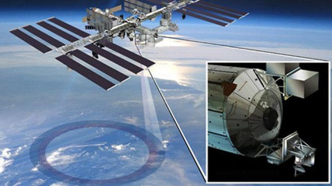 Artist's rendering of NASA's ISS-RapidScat instrument (inset), which will launch to the International Space Station in 2014 to measure ocean surface wind speed and direction and help improve weather forecasts, including hurricane monitoring. It will be installed on the end of the station's Columbus laboratory. (NASA/JPL-Caltech/Johnson Space Center)