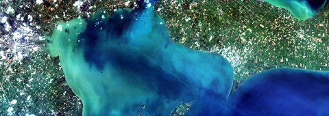 A Hyperspectral Imager for the Coastal Ocean (HICO) image of western Lake Erie, Aug. 15, 2014, taken from the orbital perspective of the International Space Station. (HICO Team/Naval Research Laboratory)