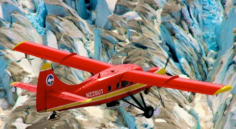 Changes in more than 130 Alaskan glaciers are being surveyed by scientists at the University of Alaska-Fairbanks in a DHC-3 Otter as part of NASA's multi-year Operation IceBridge. (Chris Larsen, University of Alaska-Fairbanks)