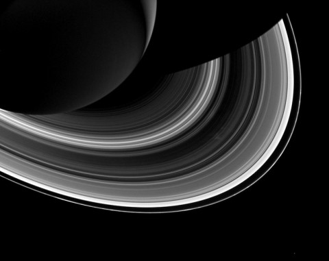 Cassini spied just as many regular, faint clumps in Saturn's narrow F ring, like those pictured here, as Voyager did, but it saw hardly any of the long, bright clumps that were common in Voyager images. (NASA/JPL-Caltech/SSI)