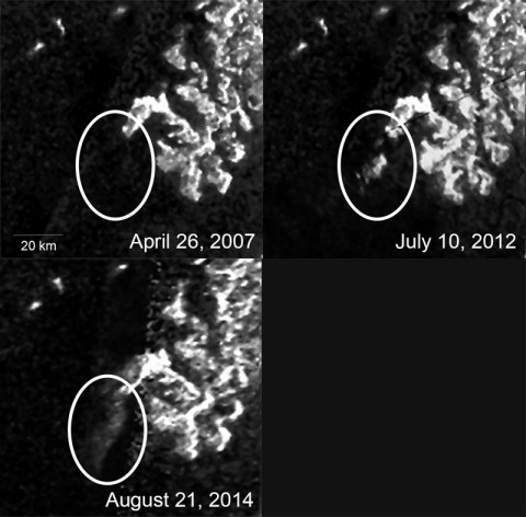 These three images, created from Cassini Synthetic Aperture Radar (SAR) data, show the appearance and evolution of a mysterious feature in Ligeia Mare, one of the largest hydrocarbon seas on Saturn's moon Titan. (NASA/JPL-Caltech/ASI/Cornell)