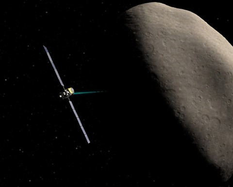 Artist concept of NASA's Dawn spacecraft orbiting Ceres during an upcoming flyby. (NASA/JPL-Caltech/UCLA)
