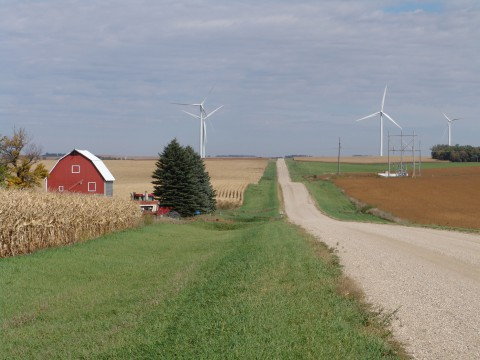 Use of wind turbines for renewable energy production on farms is on the rise. (USDA Rural Development)